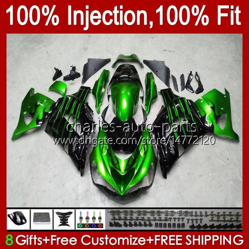 OEM Injection für Kawasaki ZZR1400 ZX 14R 2006 2007 2008 2009 2010 2011 49HC.22 ZX14R ZZR1400 grün schwarz ZX14R 06 07 08 09 10 11 Verkleidungs
