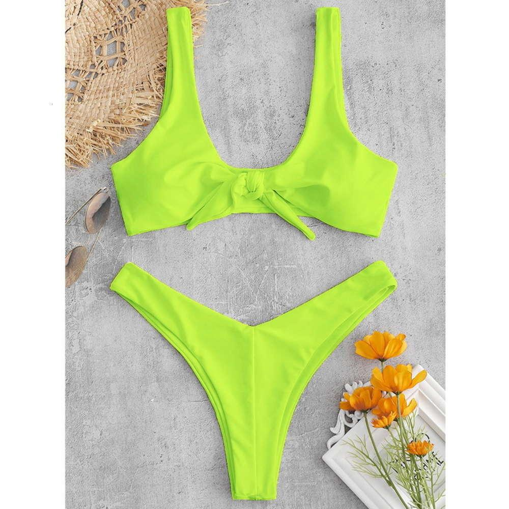 Купальник специальный купальник лимон желтый пляж сексуальный узел Split bikini костюм
