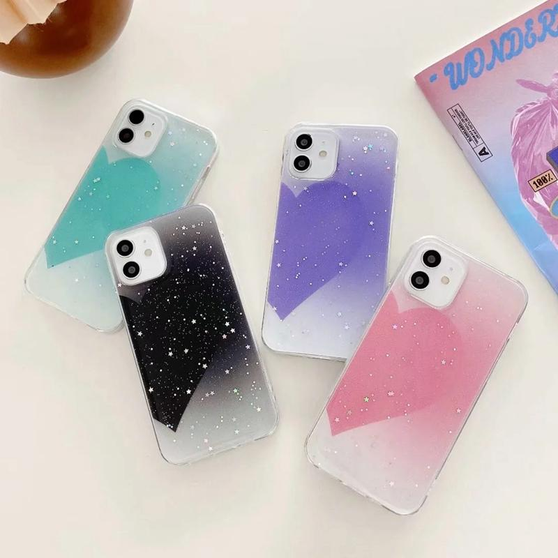 Luksusowy Bling Glitter Star Half Heart Love Case Dla Iphone 12 Pro Max 11 XS X 8 7 Soft TPU Fashion Sparkle Folia Shell Flake Cekina Telefon komórkowy Back Cover Girls Skin