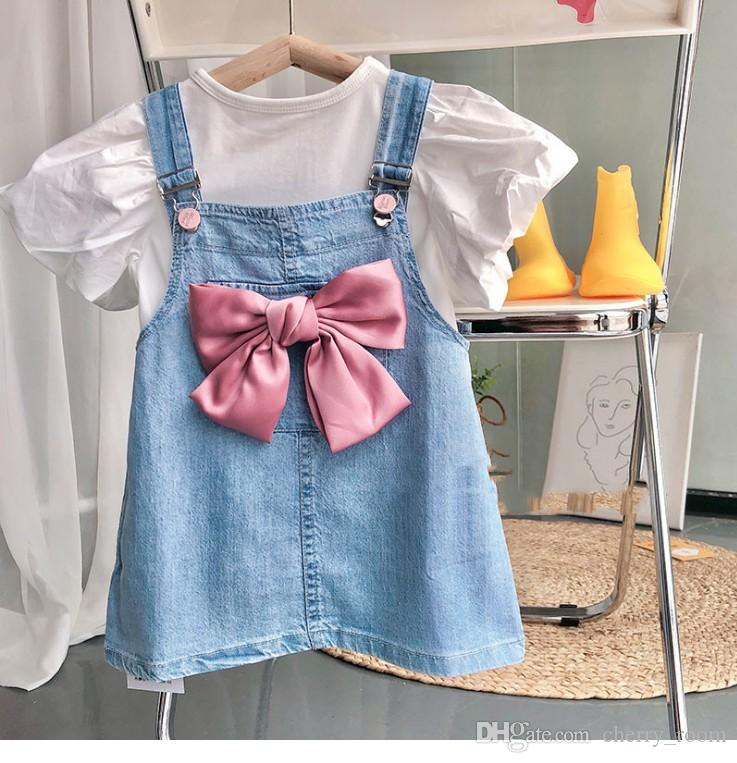 Children princess clothing sets 2021 Summer Girls white short sleeve T-shirt + Big Bow Suspender dress 2pcs suits Kids outfits S1155