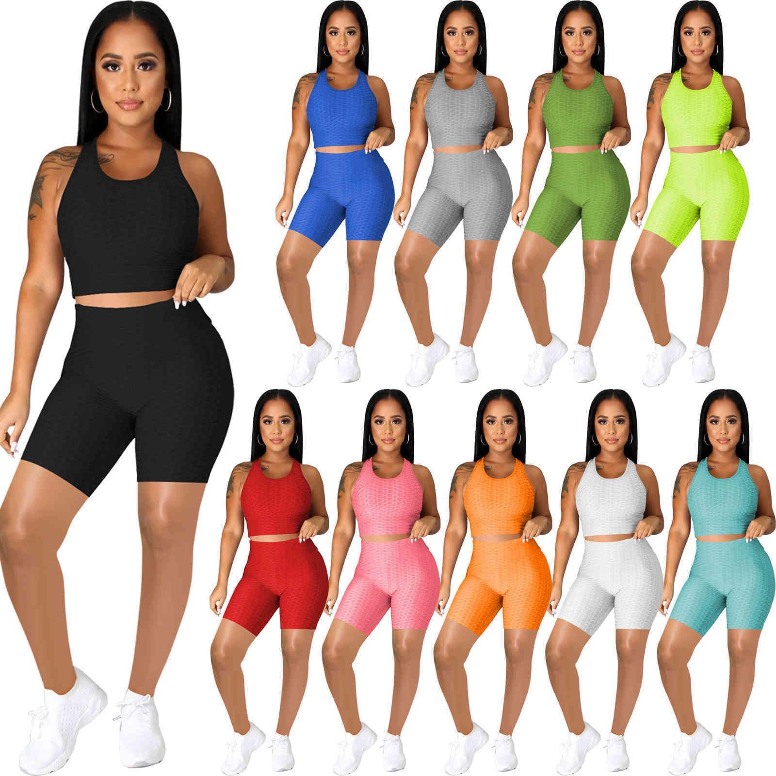 إمرأة رياضية مصممين ملابس 2021 ركض الوردي دعوى الصيف اليوغا وتتسابق تانك القمم + السراويل اثنان قطعة مجموعات sweatsuits الرياضية