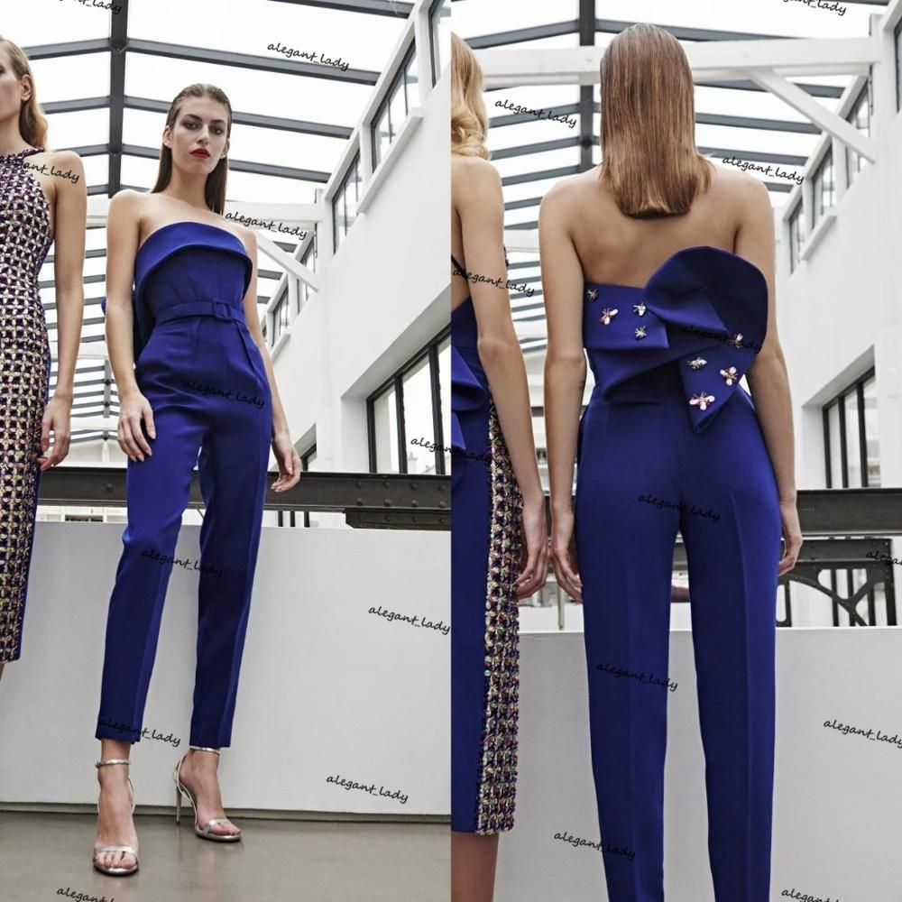 Strapless Prom Jumpsuit dresses 2021 Ruffles Peplum Satin Pearls Ankle Length Women Pants Suit Evening Dress abiti da sera