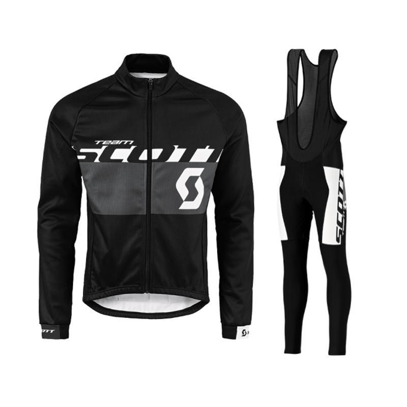 2018 الرجال سكوت الدراجات جيرسي بدلة في الرياضة طويلة الأكمام الدراجة القمصان مريلة السراويل مجموعات تنفس سريعة جاف mtb دراجة الملابس 111411Y