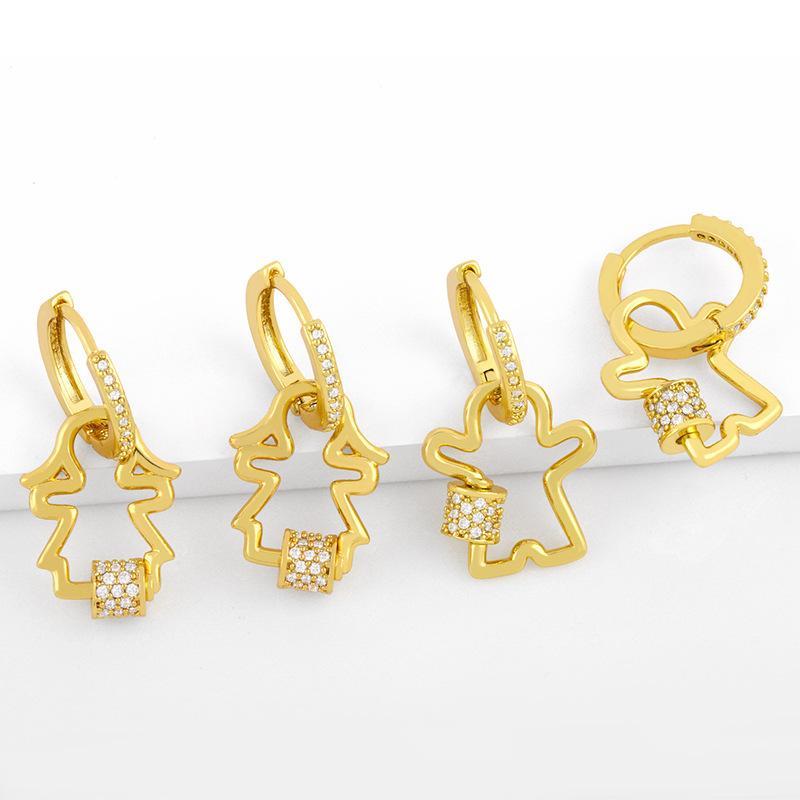 새로운 요정 여성 패션 창의력, 다이아몬드 상감 된 커플 귀걸이, 귀걸이 및 귀걸이