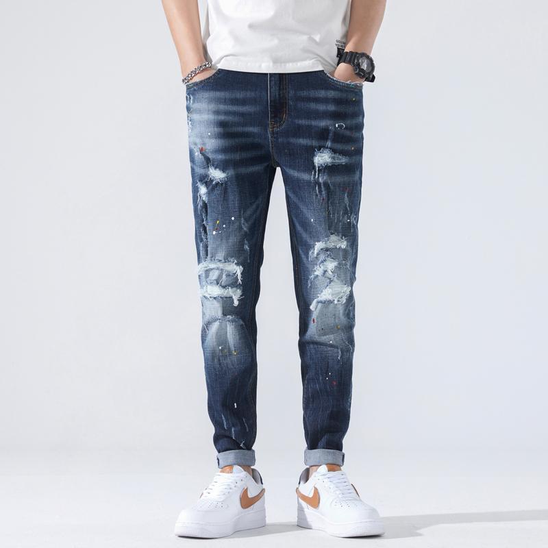 Frühling und Herbst Männer Jeans Nostalgische Loch Harem Hosen Koreanischer Trend Lose Füße Casual