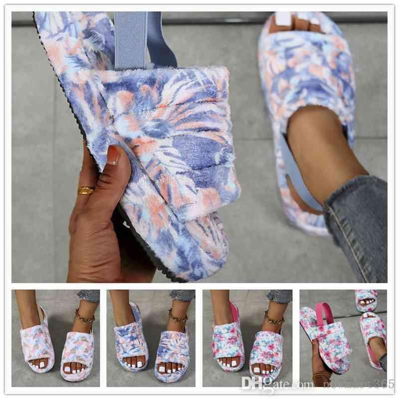 2021 Kadınlar Peluş Terlik Kravat Boya Yün Terlik Düz Dipli Ayakkabı Bayanlar Muffin Kalın Dipli Sandalet