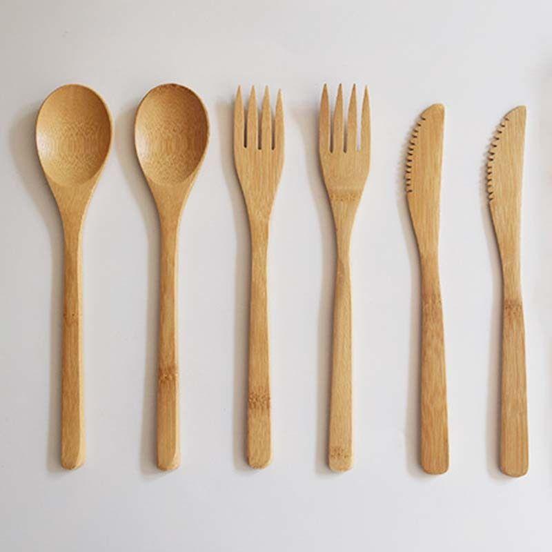 Chegada adulto estilo japonês geléia de cutelaria natural colher de bambu faca de jantar conjunto oxgx