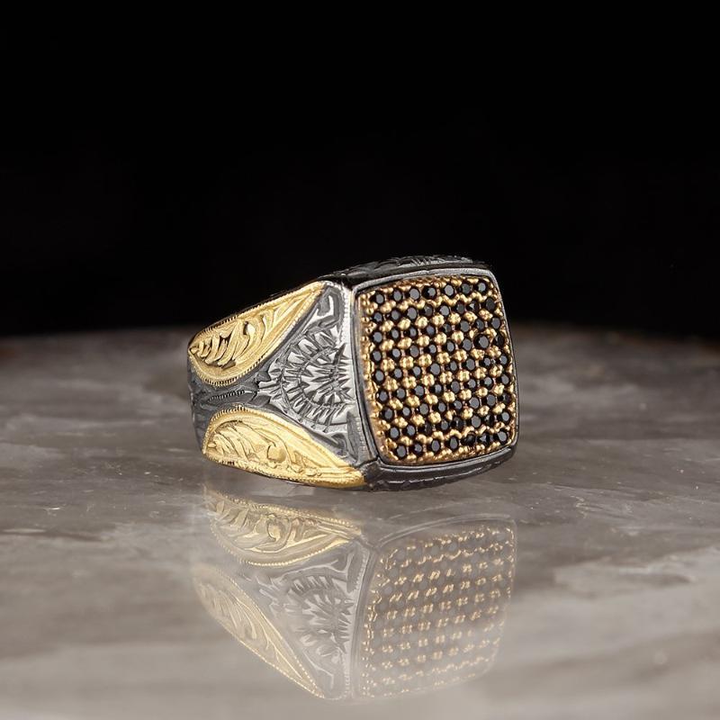 Anillo de plata esterlina para hombres, hecho a mano, oro, chapado en oro, anillos para hombre, Tamaño, Mujeres, Turquía, Joyería de Moda, Cluster