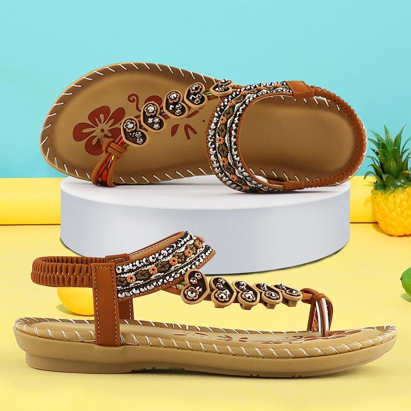 Сандалии лето для женщин мягкие досуга открытый клинья обувь нескользящая резина ретро гладиатор дамы