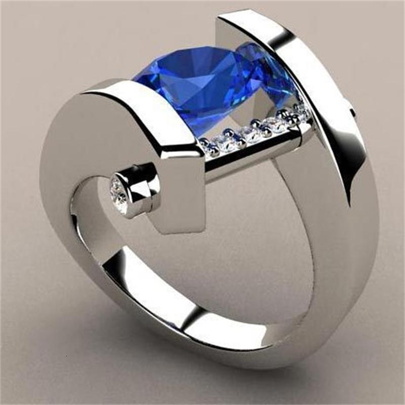 현대 창조적 인 반지 Yinhe 상감 파란색 약혼 시뮬레이션 Sier.
