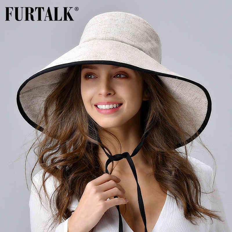 Furtalk النساء الصيف قبعة الشاطئ القطن قبعة الشمس الإناث قبعة دلو مع واسعة أضعاف الحافة الكورية uv حماية upf 50 + كاب الشمس 210323