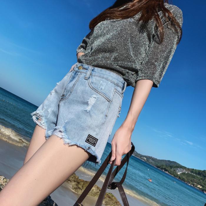 Jeans Spring A-Line Light Color Denim Denim Sloust High Waist Grey Super Shorts Gamba larga