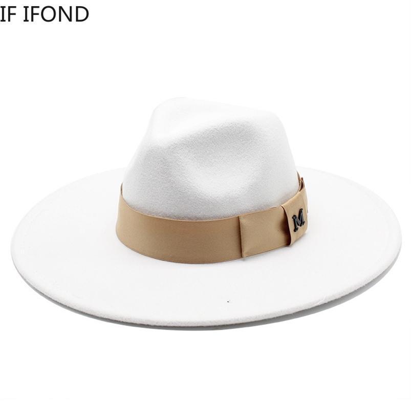 Cavalheiro elegante senhora fita feltro fedora chapéu inverno outono grande borda larga trilby festa formal boné 210608