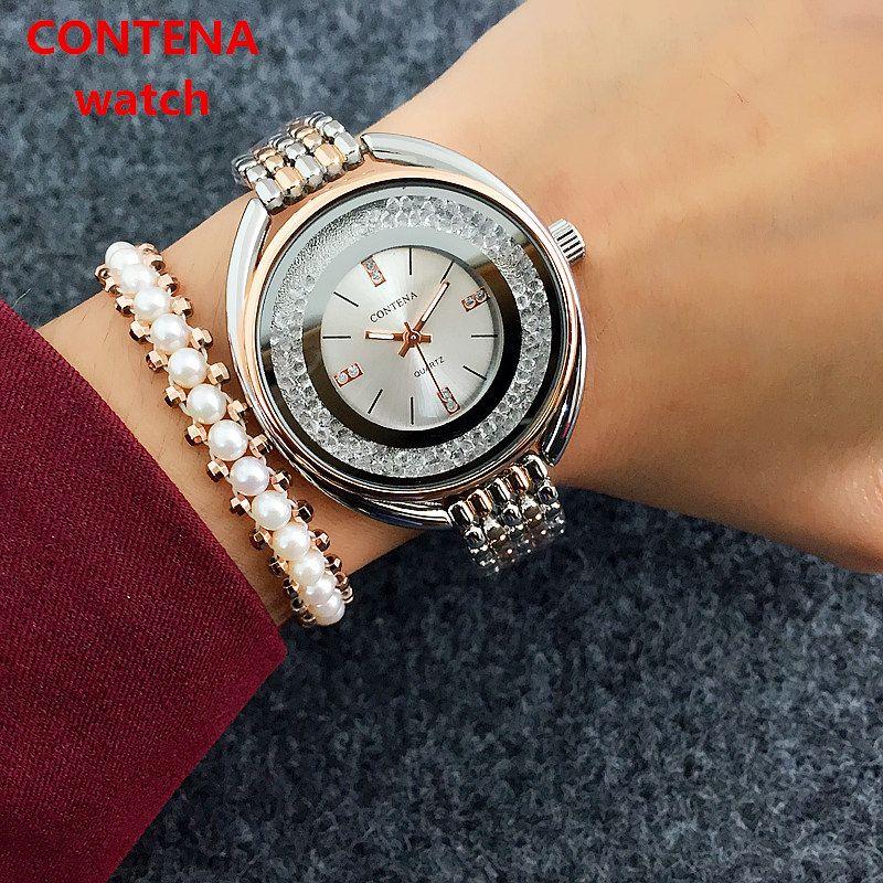 Reloj موهير أعلى العلامة التجارية كونينا النساء روز الذهب سوار luxe strass السيدات الساعات بذور relogio feminino