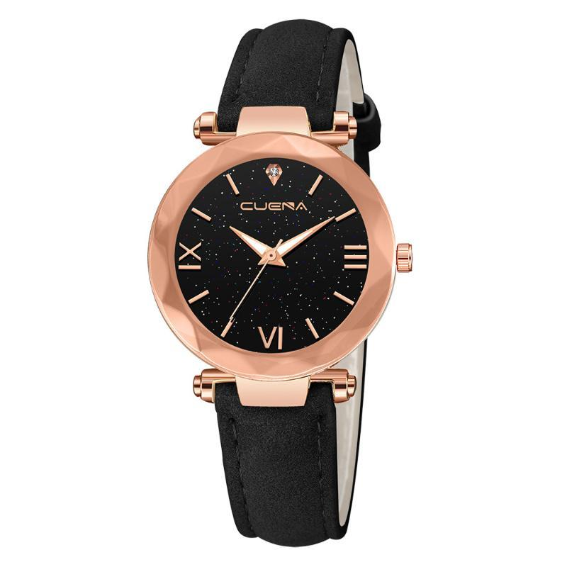 Wristwatches Women Watch Fashion Leather Band Ladies Quartz Wrist Starry Sky Round Dial Roman Number Rhinestone