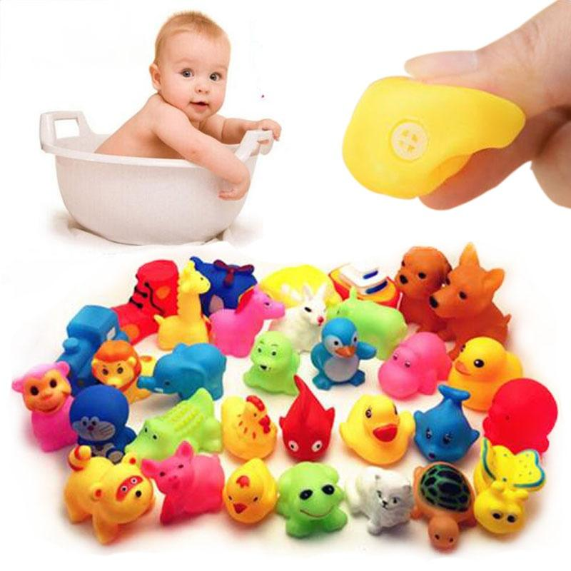 13 Pcs Cute Animals Swimming Water Toys Colorful Soft Rubber Float Squeeze Sound Squeaky Bathing Toy For Baby Bath Toys