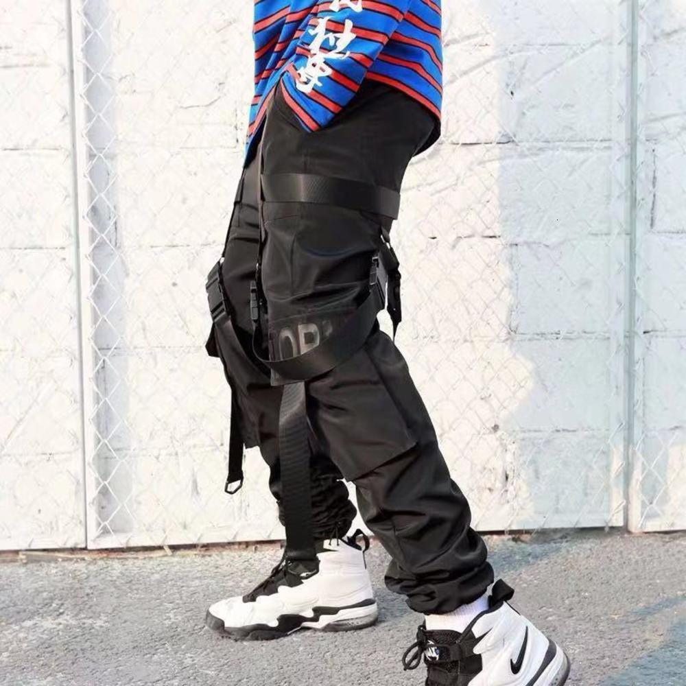 Mensopring Otoño Invierno Pantalones de carga Pantalones Streetwear Sweetpants Masculino Casual moda estilo suelto Hip Hop Pant