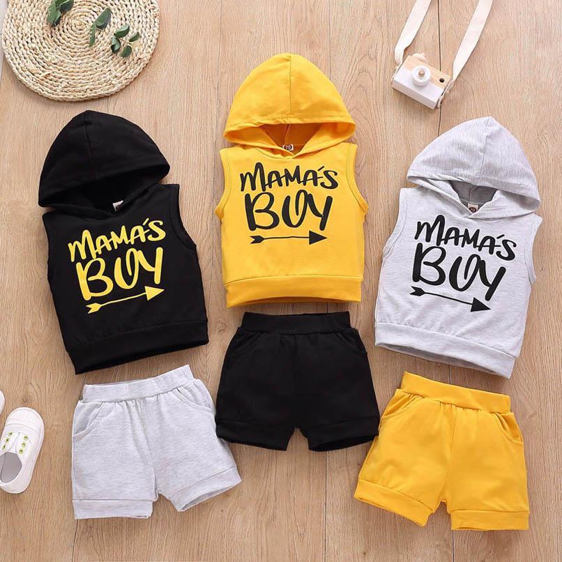 Conjuntos de roupas Boy Terno Meninos Crianças Roupas Verão Algodão Curto Manga Com Capuz Shorts 2 Pcs Bebê B4365