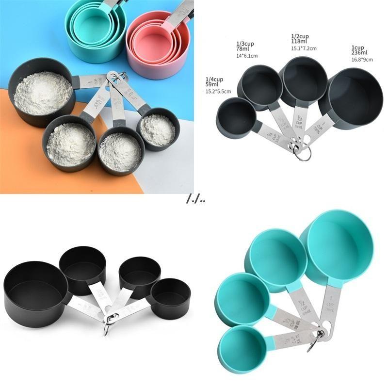 Maniglia in acciaio inox Le tazze di misurazione Set Set Strumenti di cottura Colore solido Circolare Conteggio Coppa Contazione Tazza Forniture da cucina DWF5971