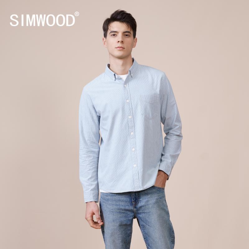 봄 슬림 피트 핀 스트라이프 100 % 코 튼 셔츠 남성 의류 씻어 캐주얼 셔츠 고품질 브랜드 의류 남자