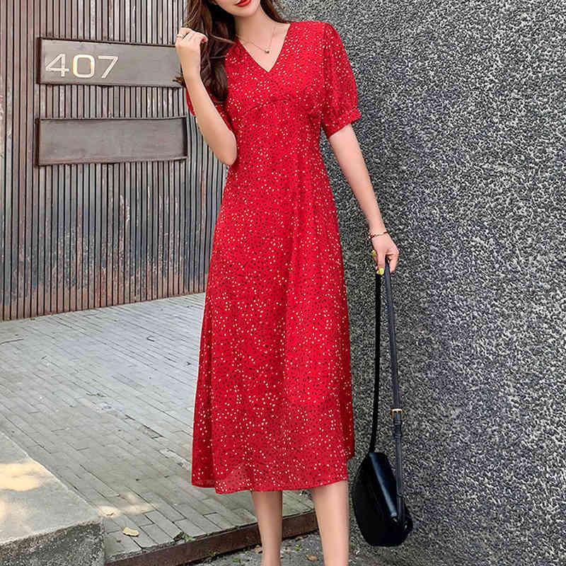 vestido retro gasa floral largo v-cuello mujeres verano nuevo maxi corto manga femenina Vestidos más tamaño