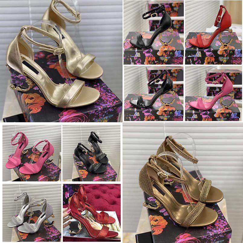 2021 Sandalen High Heels Sandalen für Frau Echtes Leder-Dressingpumpen mit barocken geformtem Fersensandalen Größe 35-41 mit Box 10 02