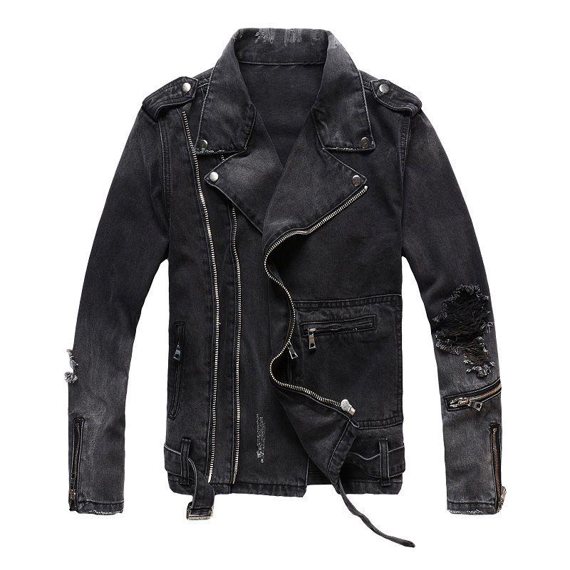 Mens High Street Jackets Fashion Denim Coat Black Blue Casual Hip Hop Designer Jacket For Male Size M-4XL
