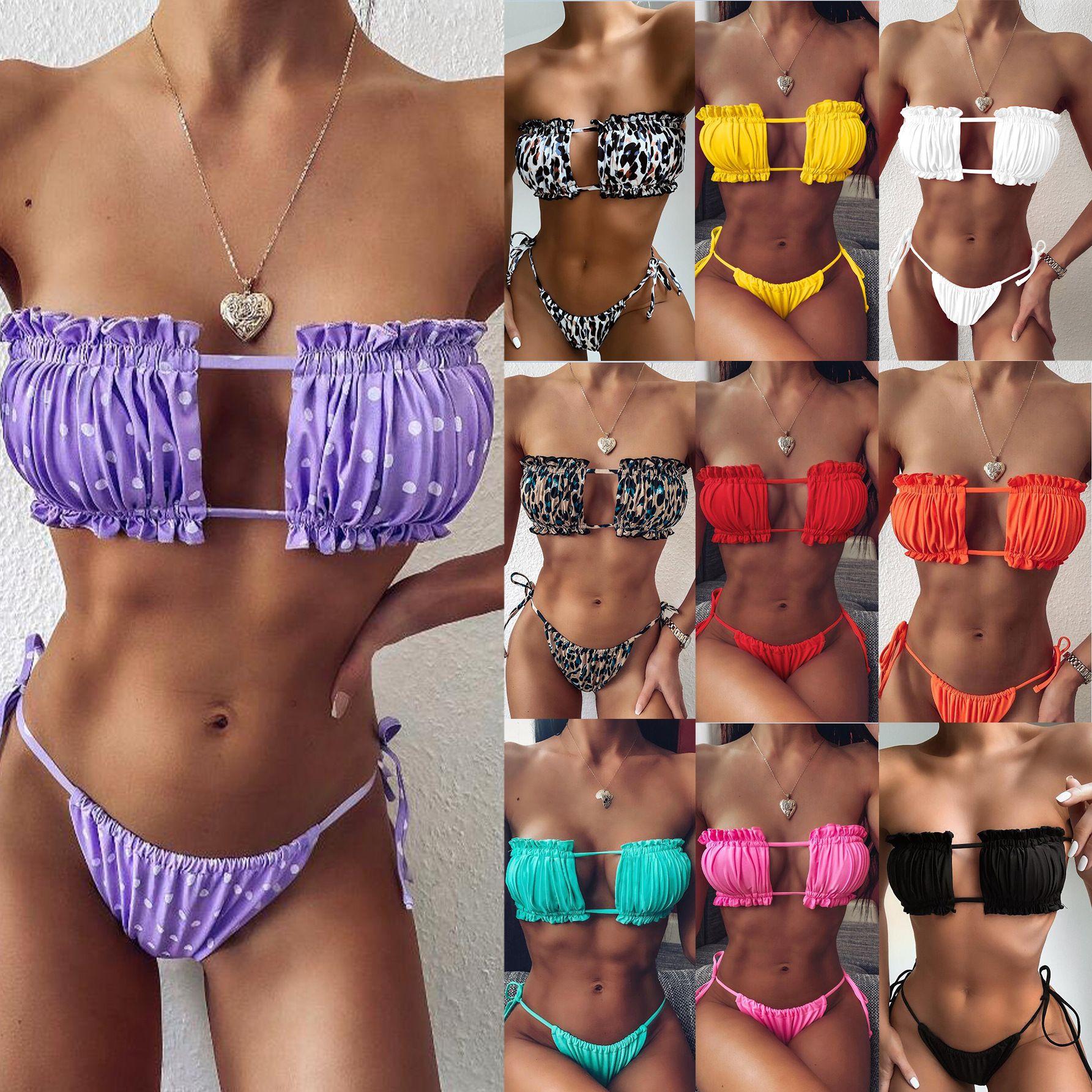 Bayan Bikini Setleri Moda Seksi Mayo Leopar Baskı Mayolar 2021 Plaj Yaz Iki Parçalı Bikini Katı Renkler Fırfır Kayışı ile