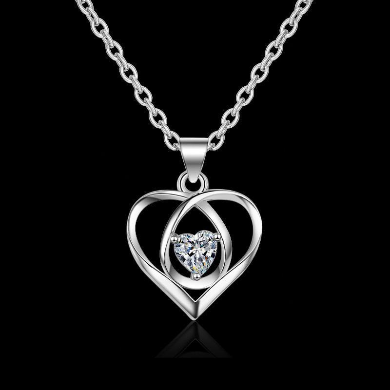 Colliers de conception de coeur S925 Sliver Forever Love Bijoux pour Femmes Mère Birthfriend Femme Sans Cadeau Box Hot Sell