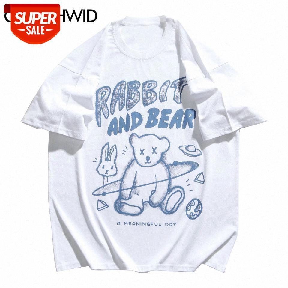 Tshirts Streetwear Grafiti Urso Coelho Universo Imprimir Manga Curta Tees Camiseta Mens Hip Hop Moda Casual Algodão Tops # 1J49