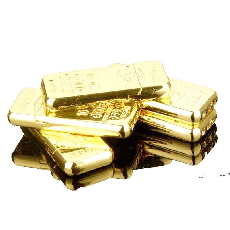 Bullion Form Zigarettenanzünder Kreative Metallschleifrad Gas Feuerzeugen Butan Flameger Zünder Gold Ziegel ohne Gas FWF5732