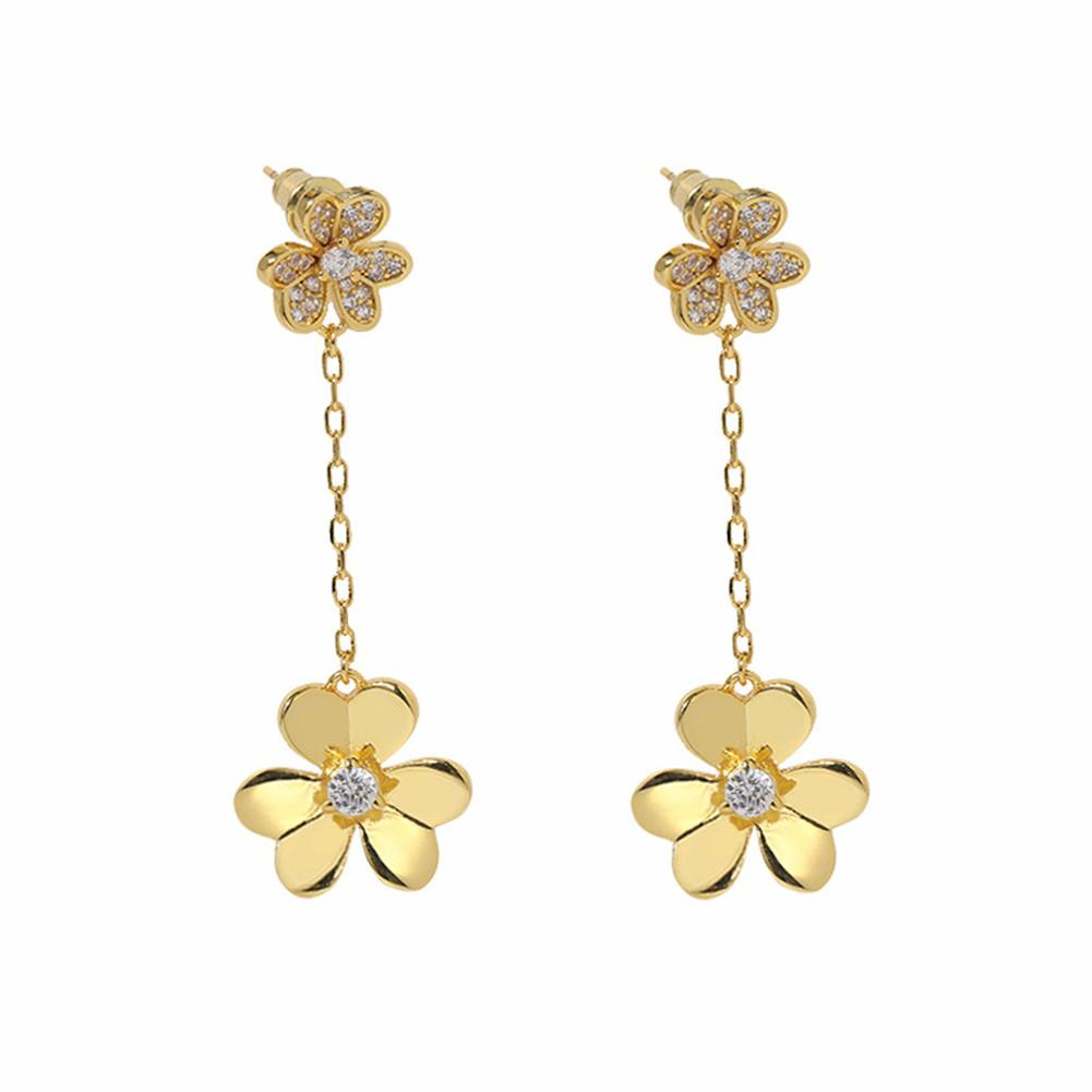 VAN 18K Fashion Four-leaf Clover/Three Leaf Dangle Clover Flower Long Cleef Earrings with Diamonds for Women&Girls Wedding Valentine's Day Jewelry Gifts