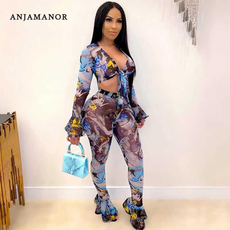 Anjamanor Lámina de moda Sheer Mesh Sexy 2 piezas Conjuntos de clubes para mujer Top de manga larga Top y pantalones de campana D37-DI20 T200810