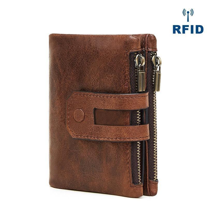 Multi-tarjeta Doble embrague de cuero RFID billetera casual moda cremallera bolso de hombre retro billetera kjfms