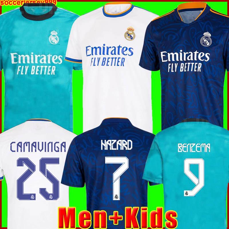 Real Madrid Maillots de football 21 22 HAZARD VINICIUS camiseta maillot de uniformes hommes + enfants enfant kits ensembles 2021 2022 de la soccer jerseys tops 999
