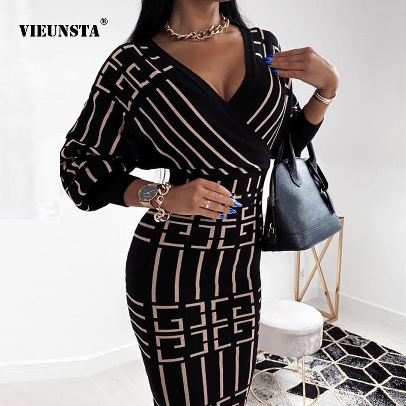 Сексуальные элегаменты Bodycon Party платья V-образным вырезом с длинным рукавом MIDI платье Женщины Винтаж Принт Slim Fit Vestidos Support 2021 Весна Осень