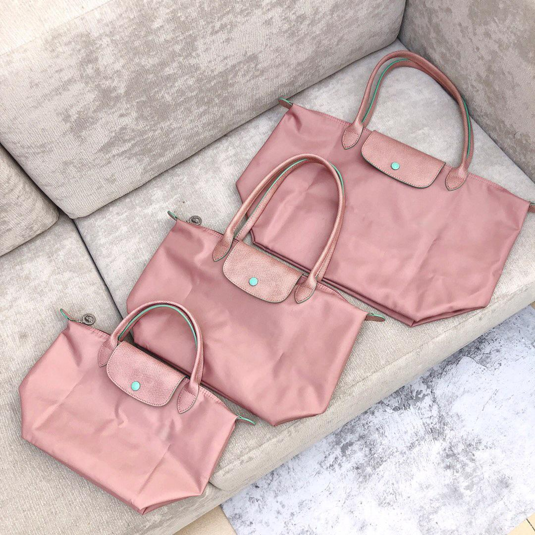 Frauen Rote Nylon Handtaschen Geldbörsen Einkaufen Strand Taschen Oxford Echt Leder Top Qualität Faltbare Reise Mehrzweck Mode Handtasche Große Tasche Handtasche