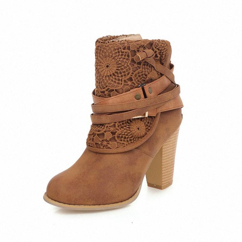 Kalenmos Kısa Çizmeler Kadınlar Yüksek Topuk Siyah Parti Patik Geri Zip Kısa Peluş Sonbahar Kış Çizmeler Kadınlar Günlük Boyutu 34 43 Çöl Boots Wellies SPE T8UJ #