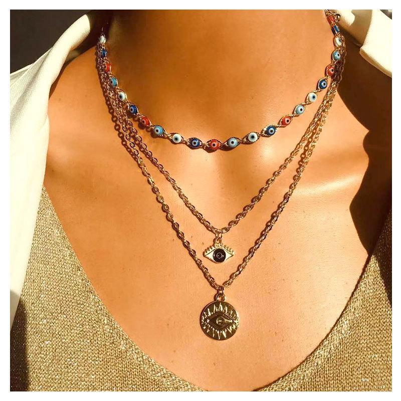 Collane multistrato di moda turco occhi malvagi per le donne bohémien vintage diavolo collane collane choker perline gioielli festa nuovo 613 q2