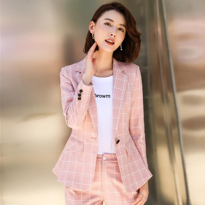 Office Ladies Pink Blazer Women Jackets Long Sleeve Work Wear Uniforms Female OL Styles Women's Suits & Blazers