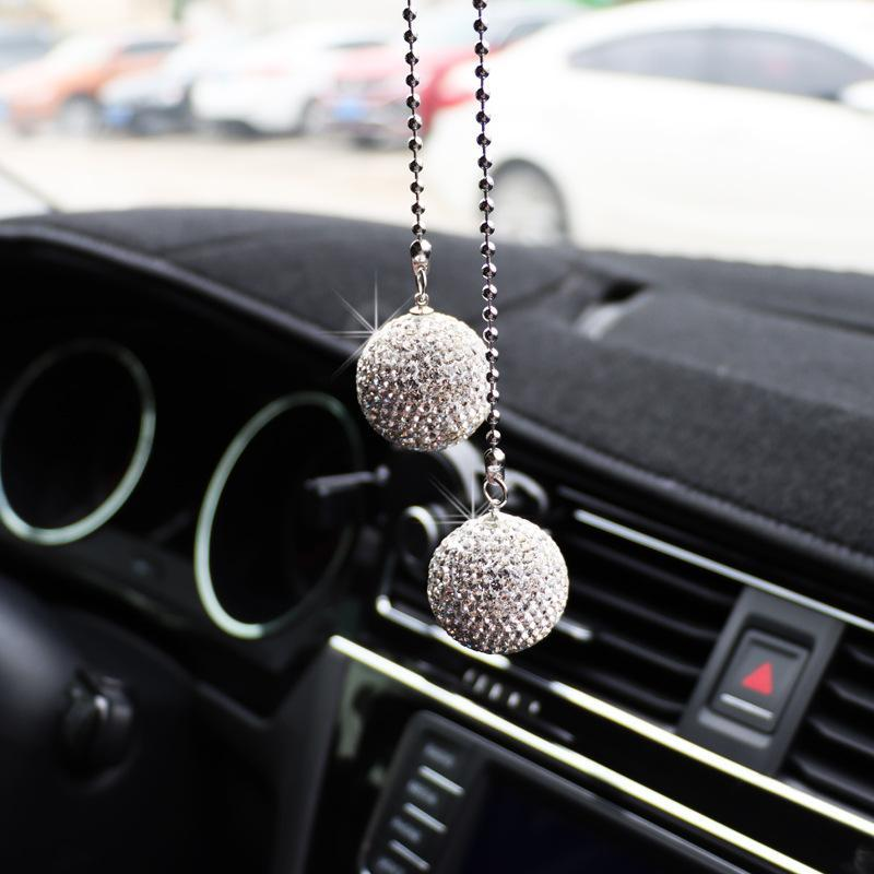 Interior Decorations Car Decoration Pendant Rhinestone Full Diamond Heart Auto Rearview Mirror Hanging Ornament Bling Accessories Girls Gift