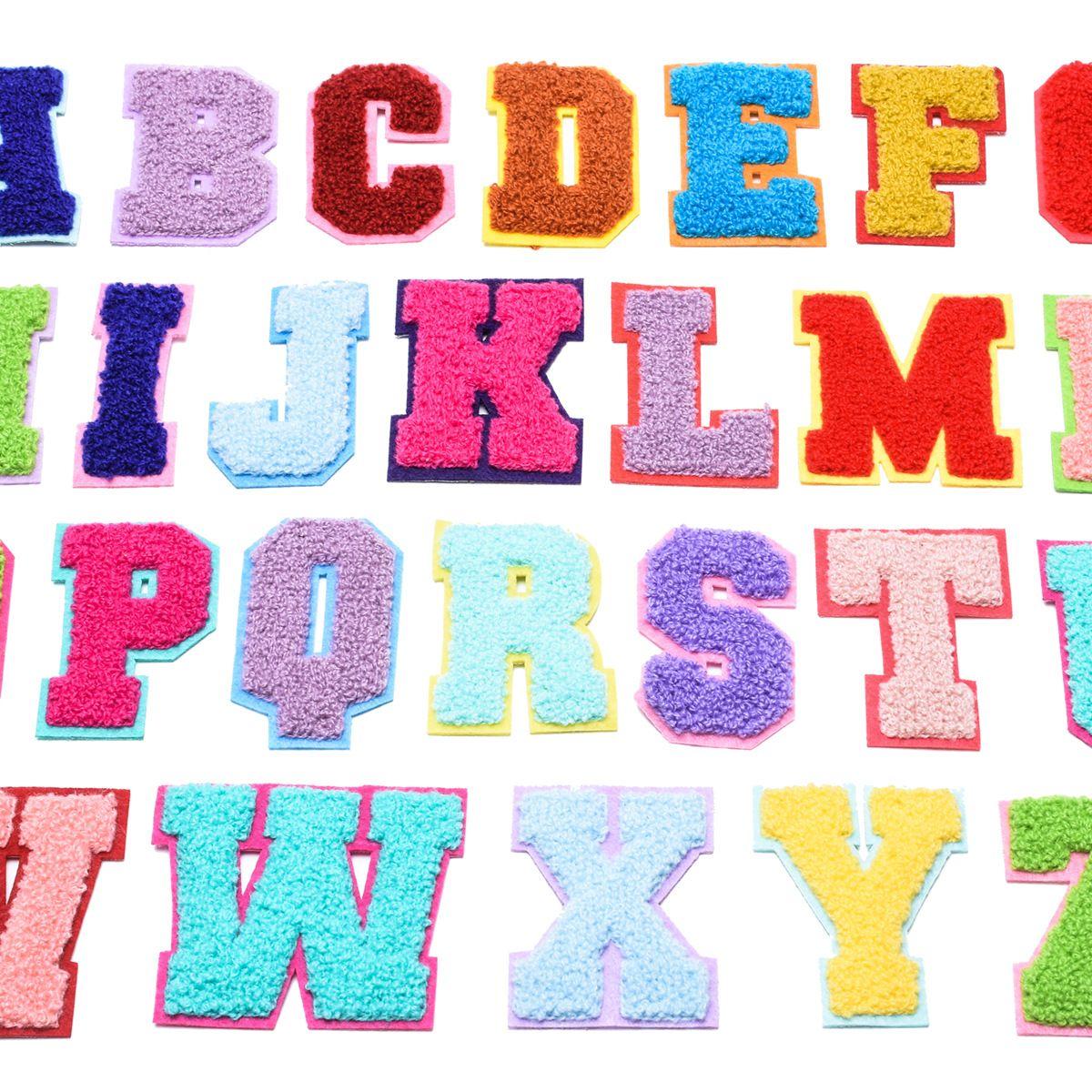 Asciugamano ricamo cartone animato colorato lettere ciniglia patch tessuto personalizzato cucire su arcobaleno colori lettera adesivo patchwork ti amo rrd7269