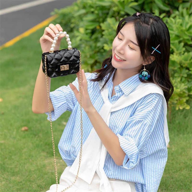 Pearl Mini Handtasche Neue Messenger Schulter Jelly Tragbare Kette Tasche Mädchen Tasche Quadratische Frauen Crossbody PVC Kleine Raute Elegante oihdn