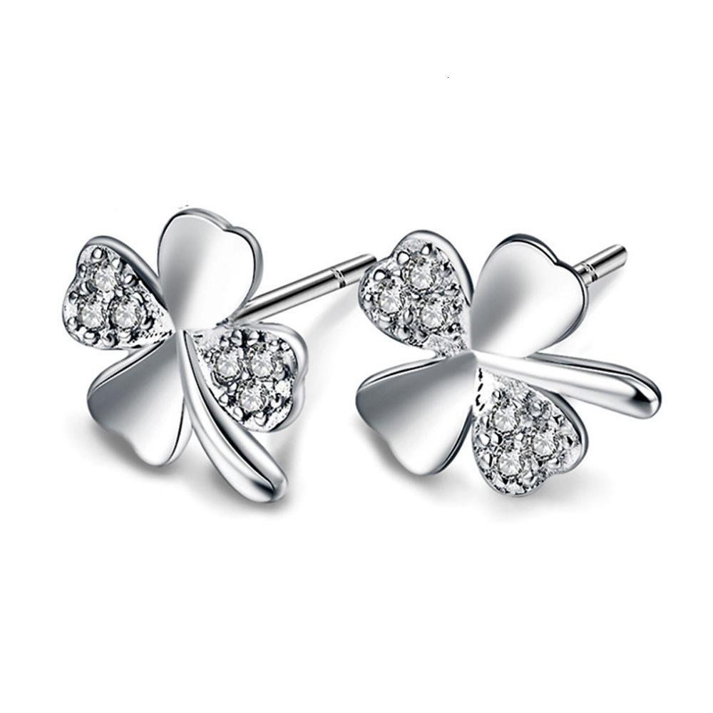 Lucky clover love silver plated earrings