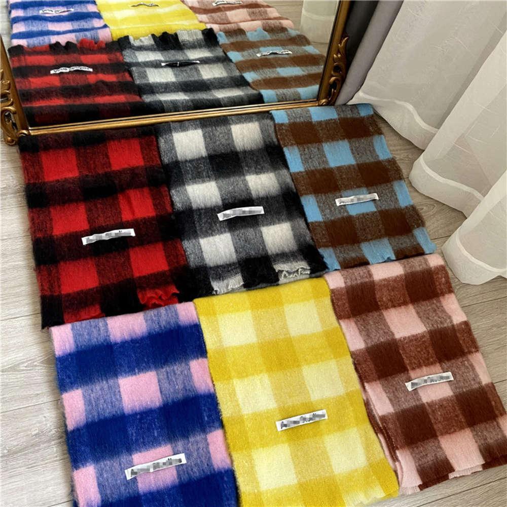 Shawls outono inverno espessado CA dupla face verificação faixa imitação mohair cor contraste xaile tassel lenço para homens e mulheres