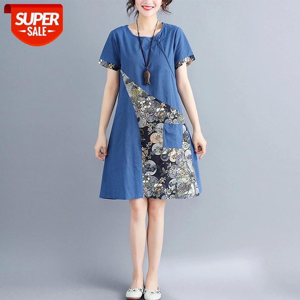 Supermiss Mulheres Vestidos de Verão Solto Floral Impresso Patchwork Longo Boho Midi Tops Casual Roinen Rã Chinês Estilo Túnica Vestido # EB5Y