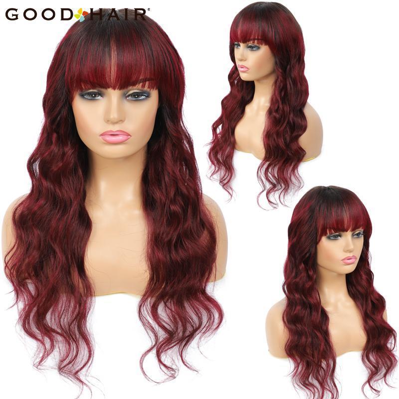 Bulchi dei capelli Brasiliani Onda del corpo umano umano con Bangs Ombre Rosso per le donne nere Non pizzo macchina buona