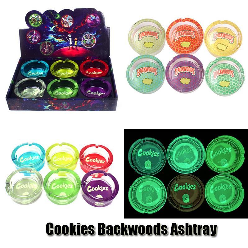 Cookies Runtz Backwoods Ashtray Luminous Rodada Forma Clear Glass Far Ash Bandeja Cigarro Cinzeiro Quadrado Bin para Tabaco Charuto Fumando Herb Seco DHL