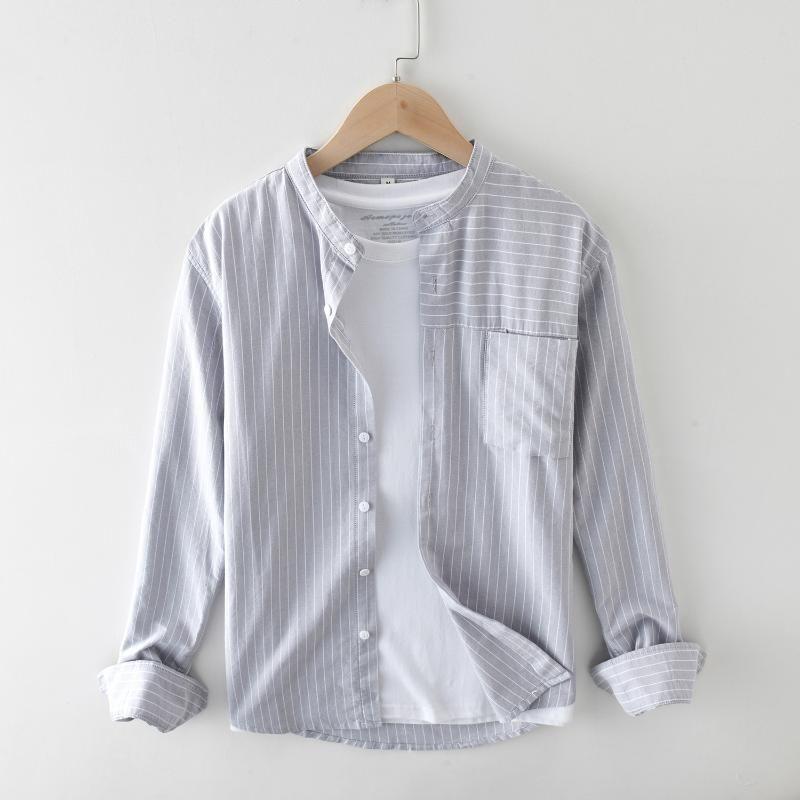 남성 세련된 스트라이프 코튼 셔츠 편안한 긴 소매 표준 맞춤 만다린 칼라 캐주얼 탑스 셔츠