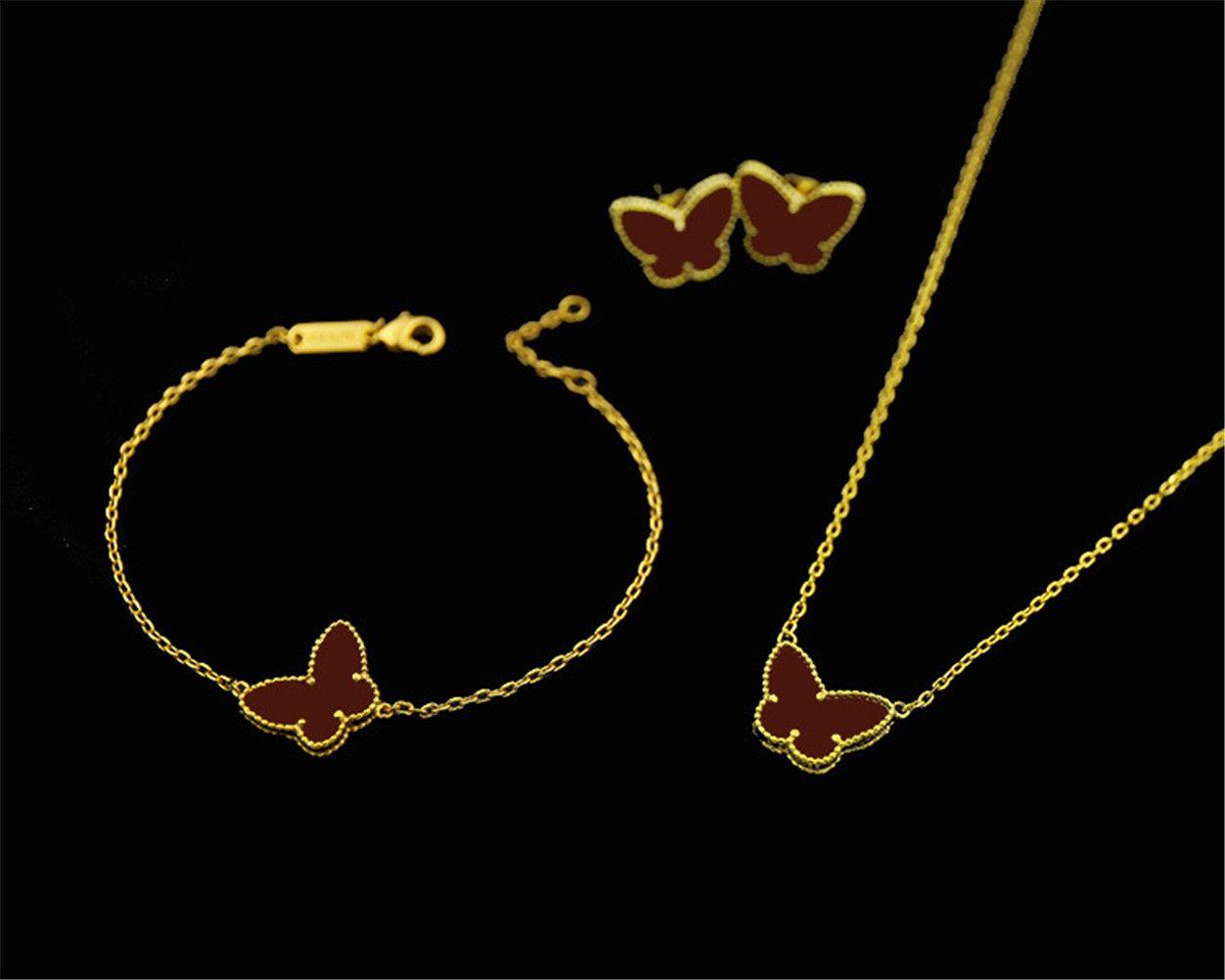 VAN 18 K Altın Moda Klasik Tatlı 4 / Dört Yapraklı Yonca Kelebek Küpe Bilezik Kolye Takı Seti S925 Gümüş Van Womengirls Için Düğün Sevgililer Günü Hediyesi